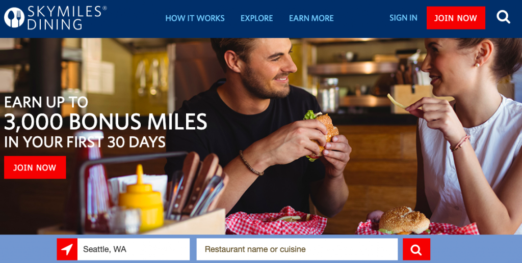 Delta is awarding new members up to 3,000 bonus miles for its airline dining program.