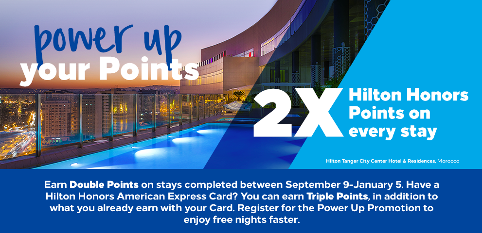 Hilton Hotel promotions typically will earn 2x or 3x on every stay.