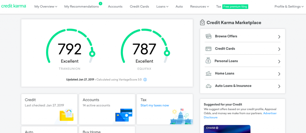Credit Karma is a popular service to track and improve an average credit score.