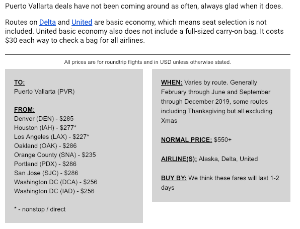 The Scott's Cheap Flight email will include the location, the price, the source, what it usually costs, as well as the many airports that it's good from.