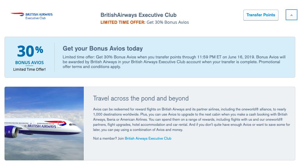 Chase adds transfer bonus to British Airways through mid-June.