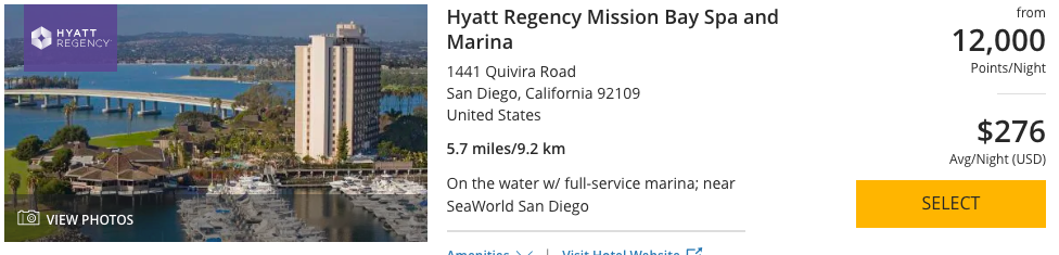 When planning a trip with Chase Ultimate Rewards, booking the Hyatt Regency Mission Bay Spa and Marina is possible as they are a transfer partner.