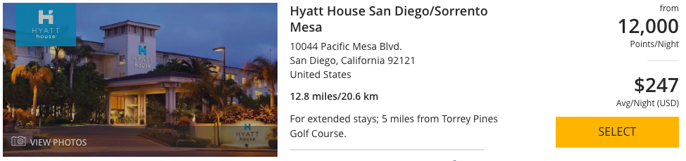 When planning a trip with Chase Ultimate Rewards, booking the Hyatt House San Diego/Sorrento Mesa is possible as they are a transfer partner.