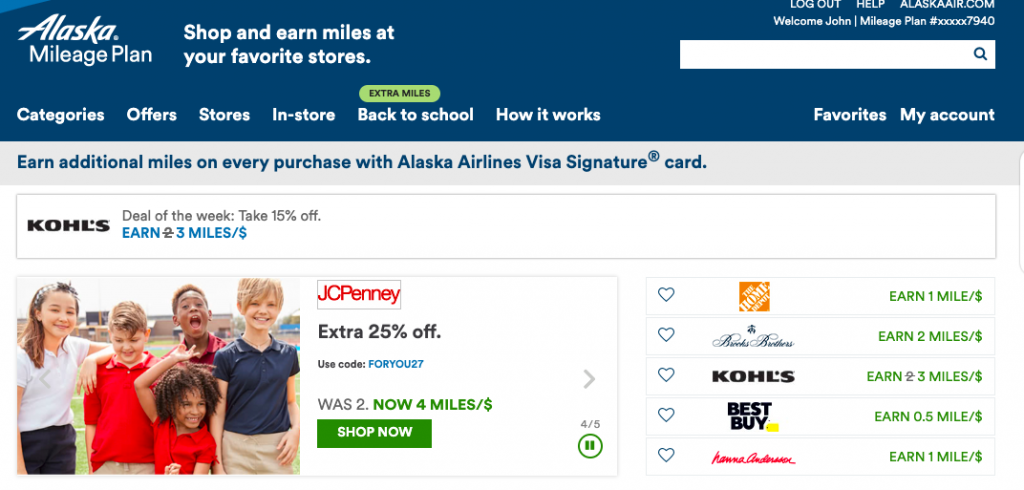 "Using the code ""FORYOU27"" would still earn you points since it is found on the Alaska Air Shopping Portal website."