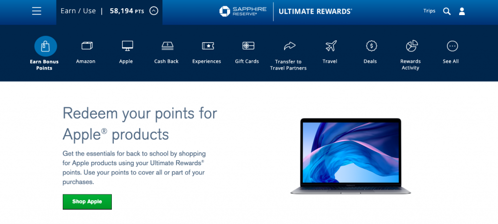 To earn Chase Ultimate Rewards through the shopping portal, you need to login to your account and click your Ultimate Rewards tab.