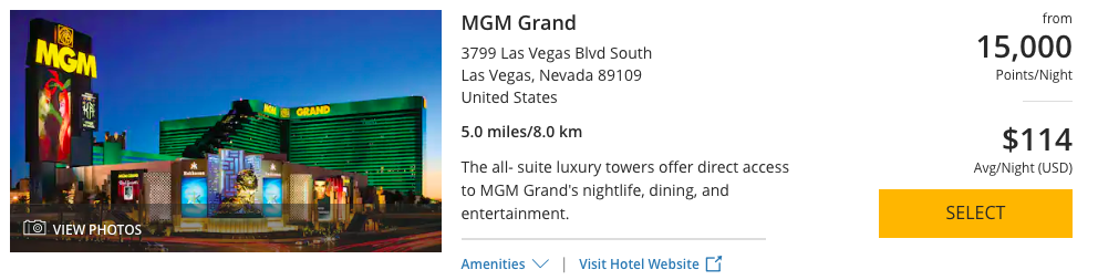 Las Vegas' famous MGM Grand can be booked with 15,000 World of Hyatt Points per night.