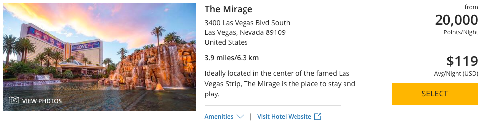 The Mirage can be booked with 20,000 World of Hyatt Points per night.