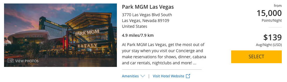 The Park MGM Las Vegas can be booked with 15,000 World of Hyatt Points per night.