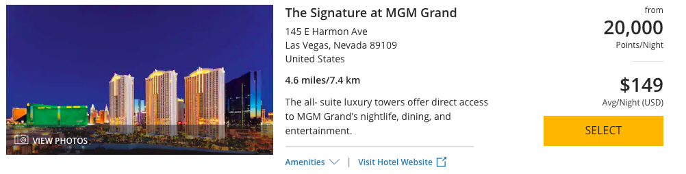 The Signature at MGM Grant can be booked with 20,000 World of Hyatt Points per night.