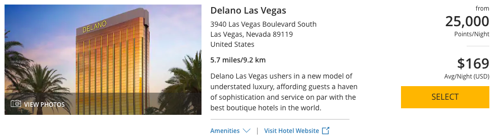Delano Las Vegas can be booked with 25,000 World of Hyatt Points per night, making it the most expensive Hyatt property on the Las Vegas Strip.