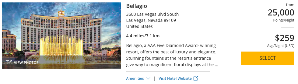 The Bellagio can be booked with 25,000 World of Hyatt Points per night.