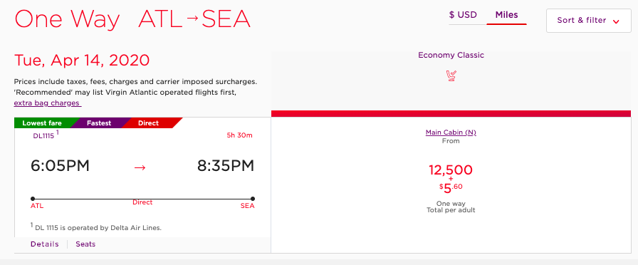 When using Virgin Atlantic miles to book flights on Delta, we found it to cost less than redeeming Delta SkyMiles.
