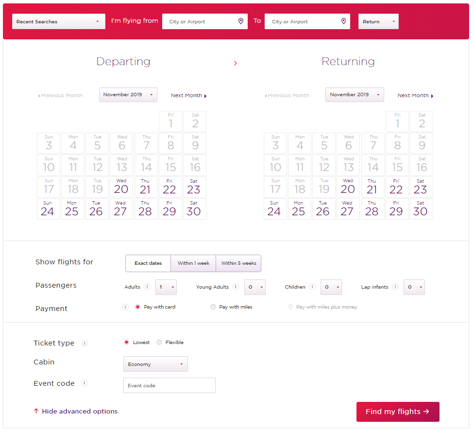 When using Virgin Atlantic miles to book flights on Delta, it's important to use the reward search website and not the general website.