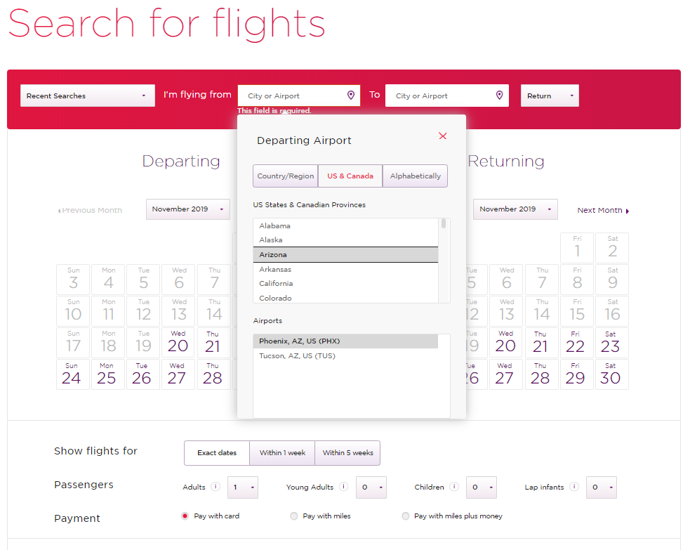 When using Virgin Atlantic miles to book flights on Delta, there is a feature that will help users select the airport for departure or arrival.