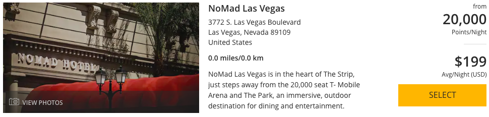 NoMad Las Vegas can be booked with 20,000 World of Hyatt Points per night.