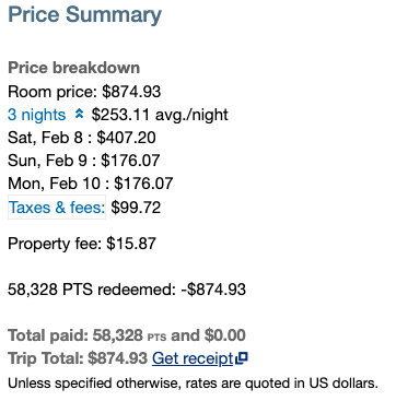 The room breakdown on our ski trip to Whistler came out to $253.11 each night along with taxes and fees.
